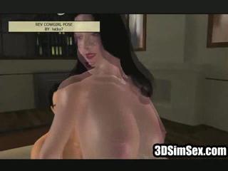 3D девушка с гигантской сиськи едет жесткий петух